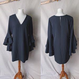 NWT MILLY Double Ruffle Nicole Dress Slate 12